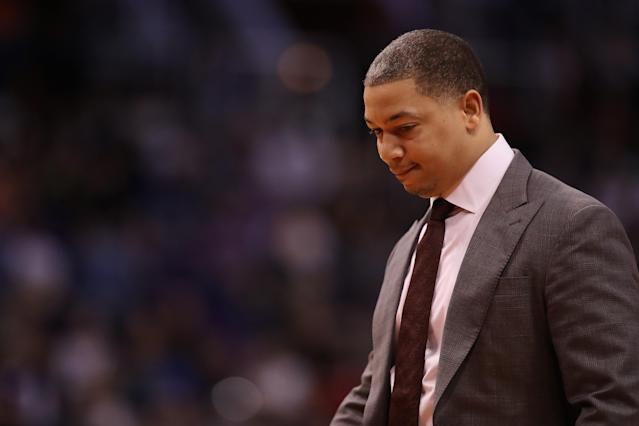 PHOENIX, AZ - MARCH 13: Head coach Tyronn Lue of the Cleveland Cavaliers during the first half of the NBA game against the Phoenix Suns at Talking Stick Resort Arena on March 13, 2018 in Phoenix, Arizona. The Cavaliers defeated the Suns 129-107 (Photo by Christian Petersen/Getty Images)
