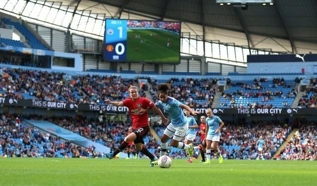 A big crowd was in attendance for the derby between Manchester City Women and Manchester United Women at the start of the 2019-20 season