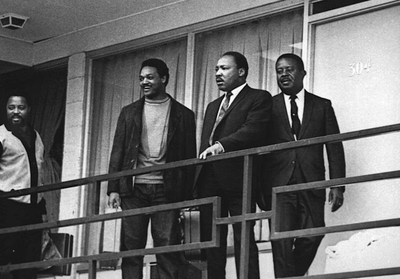 With Martin Luther King in 1968 a day before King's assassination at the same spot.