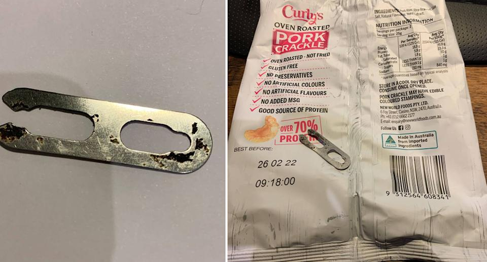 A metal clip, left, found in the Curly's pork crackle.