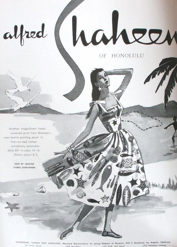 One of Alfred Shaheen's ads featuring a print inspired by ocean life. Note the various department stockists at the bottom of the ad.