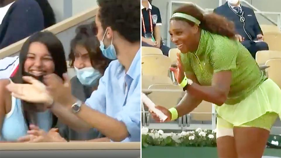Seen here, Serena Williams laughs after winning an incredible point at the French Open.