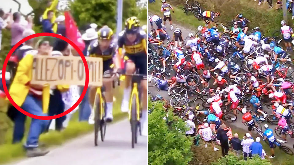 The spectator, pictured here causing one of the worst crashes the Tour de France has ever seen.