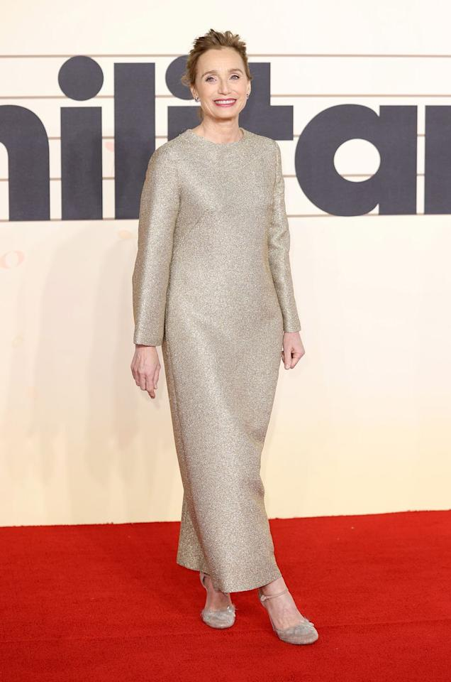 <p><strong>24 February </strong>Kristin Scott Thomas in a shimmering ankle-length number at the Military WivesLondon premiere. </p>
