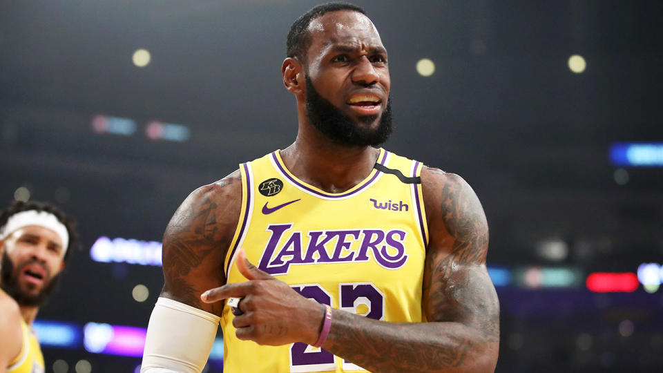 LeBron James reacts with frustration to a call.