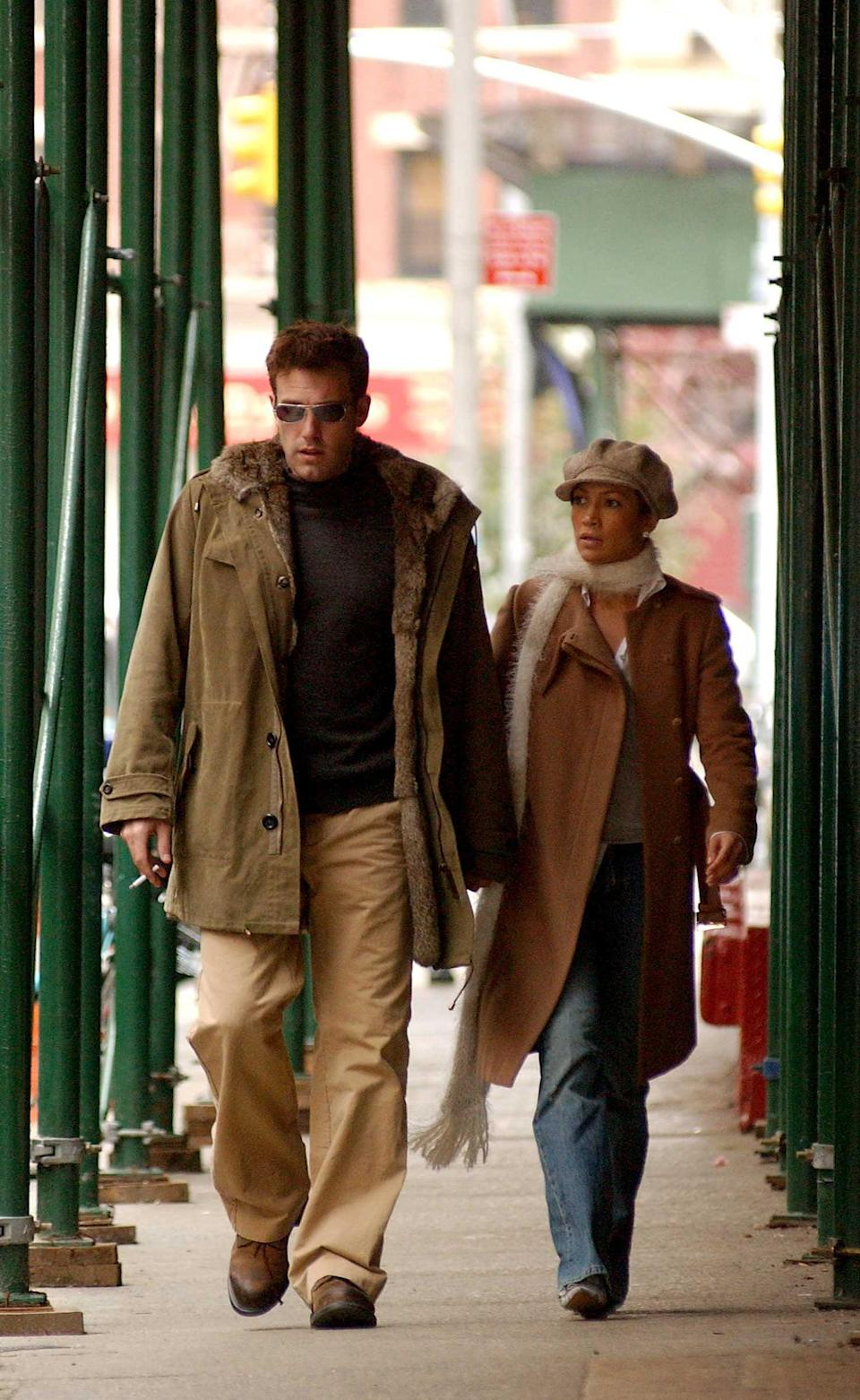 <p>A his and hers fall style moment in 2002. </p>