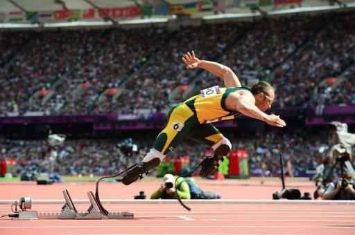 Oscar Pistorius, pictured running in the 4x400m heats at the London Olympics