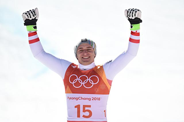 <p>Matthias Mayer of Austria wins the gold medal during the Alpine Skiing Men's Super-G. (Getty) </p>