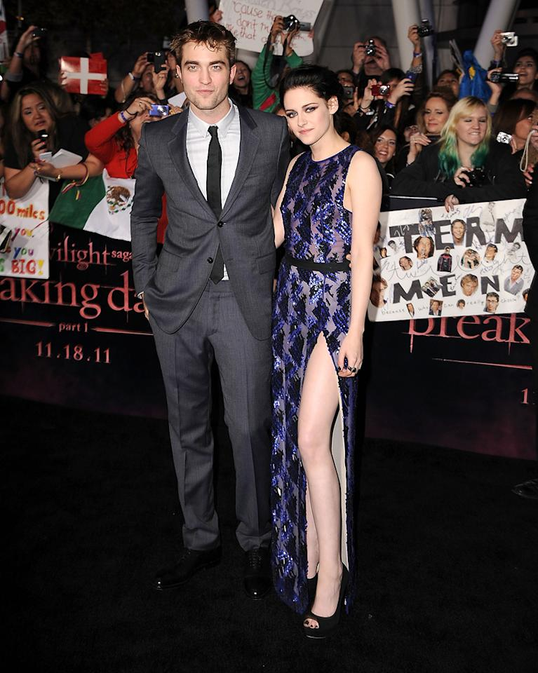 "<a href=""http://movies.yahoo.com/movie/contributor/1808623206"">Robert Pattinson</a> and <a href=""http://movies.yahoo.com/movie/contributor/1807776250"">Kristen Stewart</a> at the Los Angeles premiere of <a href=""http://movies.yahoo.com/movie/1810158314/info"">The Twilight Saga: Breaking Dawn - Part 1</a> on November 14, 2011."