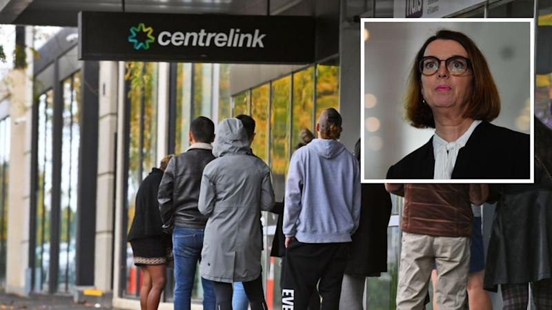 People queue outside of Centrelink centre during coronavirus. Social Services Minister Anne Ruston. Images: Getty