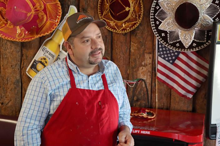 Roy Arellano, co-owner of Rooster's Mexican Restaurant andd Cantina, a popular Restaurant in Vega, TX. Arellano was forced to shut down in-restaurant dining because of the pandemic, but planned to open back up in early May as the Gov. Greg Abbott allowed in a recent executive order.