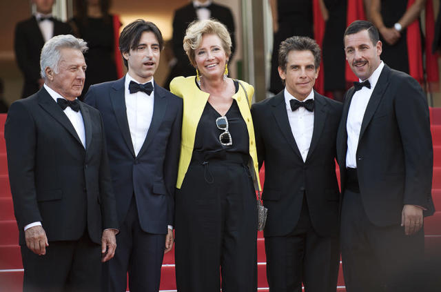 <p>The cast poses with writer/director Noah Baumbach at the screening of their film <em>The Meyerowitz Stories</em> on May 21, 2017. (Photo: Arthur Mola/Invision/AP) </p>