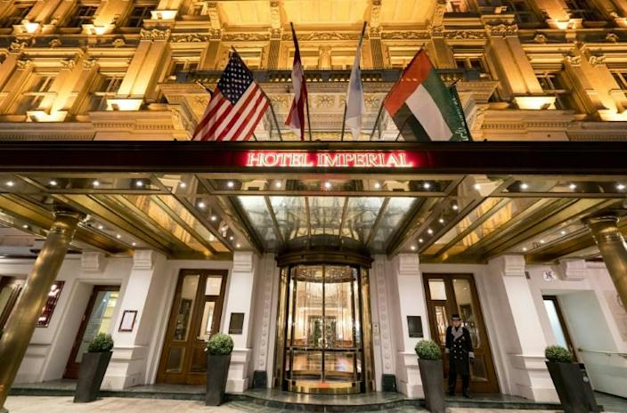 The Vienna hotel where diplomats held talks over the Iran nuclear deal is seen in February 2016