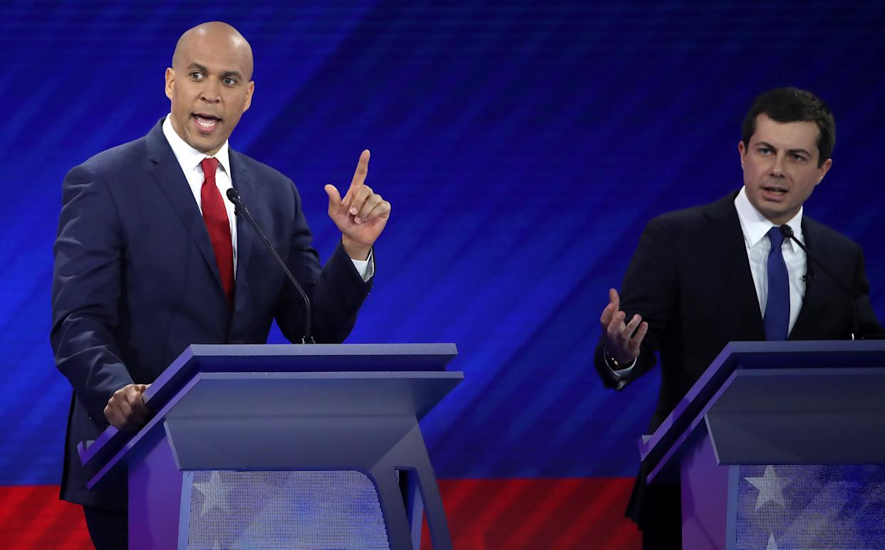 Both Sen. Cory Booker (D-N.J.) and Mayor Pete Buttigieg (D) were Rhodes scholars. But only one frequently has it mentioned in the press as part of his biography. (Photo: Win McNamee/Getty Images)