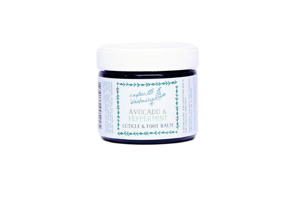 "<p>Avocado & Peppermint Cuticle and Foot Balm, $24, <a href=""http://captainblankenship.com/products/avocado-peppermint-cuticle-and-foot-balm"">captainblankenship.com </a><br /><br /></p>"