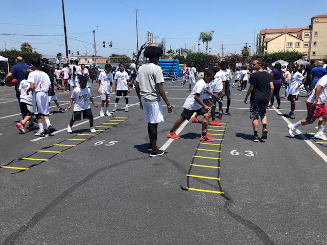 Participants ranging from 6 to 12 years old took part in the Go Hoop Day youth basketball clinic. (Alanis Thames/Yahoo Sports)