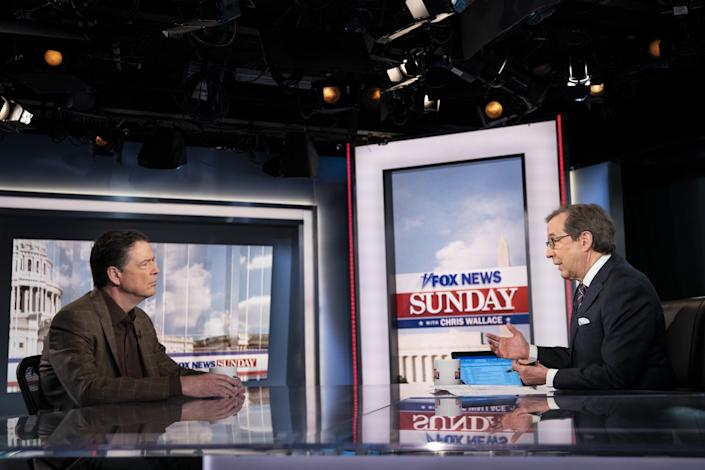 """Former FBI director James Comey with Chris Wallace on """"Fox News Sunday"""""""