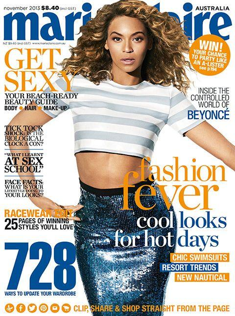 The November 2013 issue of marie claire with Beyonce on the cover.