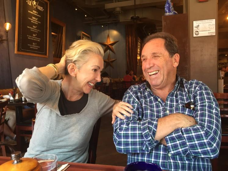 Jane, left, and Raymond Wurwand at a local restaurant. The owners of Dermalogica have committed $1 million in grant support to small businesses in Los Angeles struggling due to COVID-19.