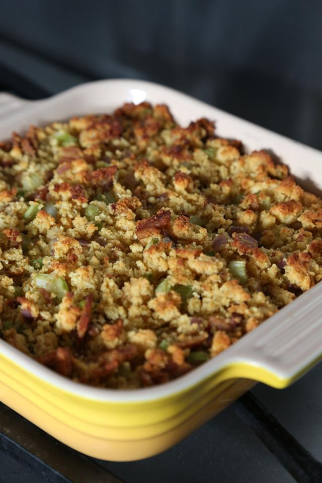 """<p><b>Get the recipe:</b> <a href=""""http://thepioneerwoman.com/cooking/stuffing_dressing_my_favorite_thanksgiving_food/"""" target=""""_blank"""" class=""""ga-track"""" data-ga-category=""""Related"""" data-ga-label=""""http://thepioneerwoman.com/cooking/stuffing_dressing_my_favorite_thanksgiving_food/"""" data-ga-action=""""In-Line Links"""">basic Thanksgiving dressing</a></p>"""
