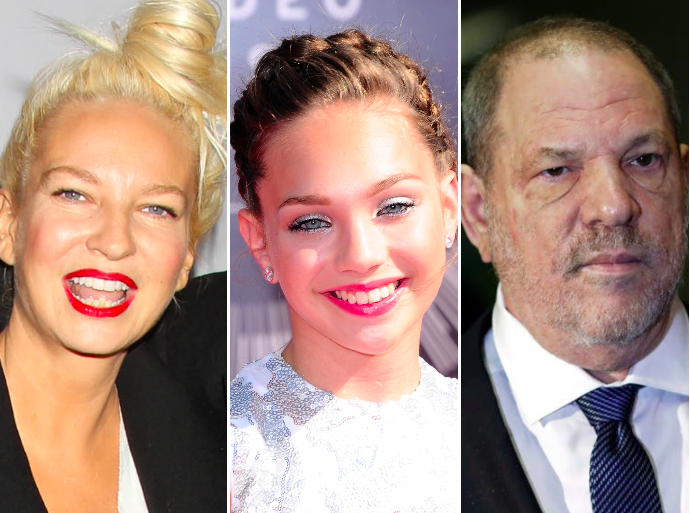 Sia, Maddie Ziegler and Harvey Weinstein: Rex, Getty, PA