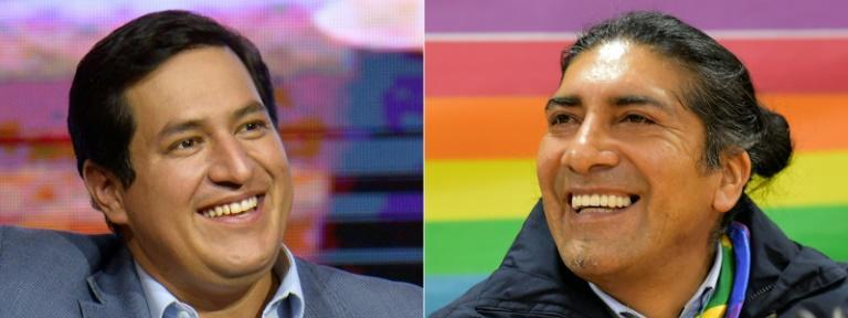 Leftist economist Andres Arauz (L) might face indigenous candidate Yaku Perez (R) in Ecuador's presidential election runoff