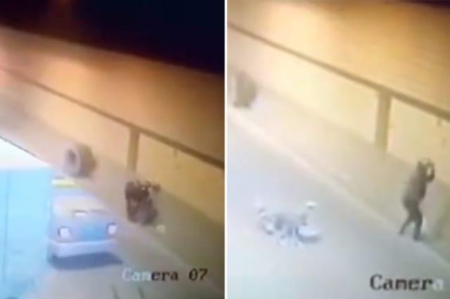 Runaway tyre hits unlucky scooter rider twice after falling from truck