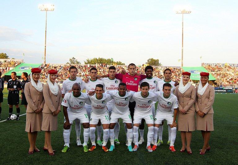 The New York Cosmos team pose for a photo before the game in Hempstead, New York, on August 3, 2013