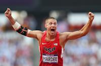 """Silver medalist <a href=""""http://sports.yahoo.com/olympics/track-field/trey-hardee-1133057/"""" data-ylk=""""slk:Trey Hardee"""" class=""""link rapid-noclick-resp"""">Trey Hardee</a> of the United States celebrates during the Men's Decathlon Javelin Throw on Day 13 of the London 2012 Olympic Games at Olympic Stadium on August 9, 2012 in London, England. (Getty Images)"""