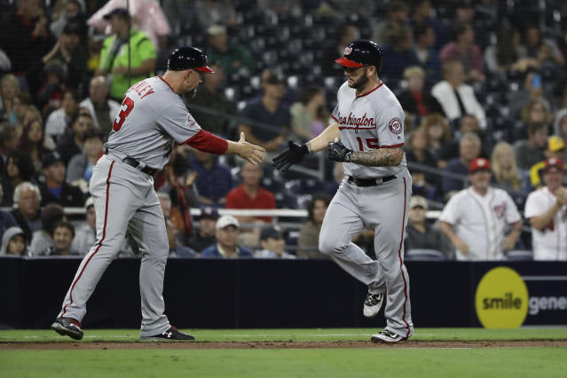 "A familiar sight, <a class=""link rapid-noclick-resp"" href=""/mlb/players/9100/"" data-ylk=""slk:Matt Adams"">Matt Adams</a> (right) trotting around the bases (AP Photo/Gregory Bull)"
