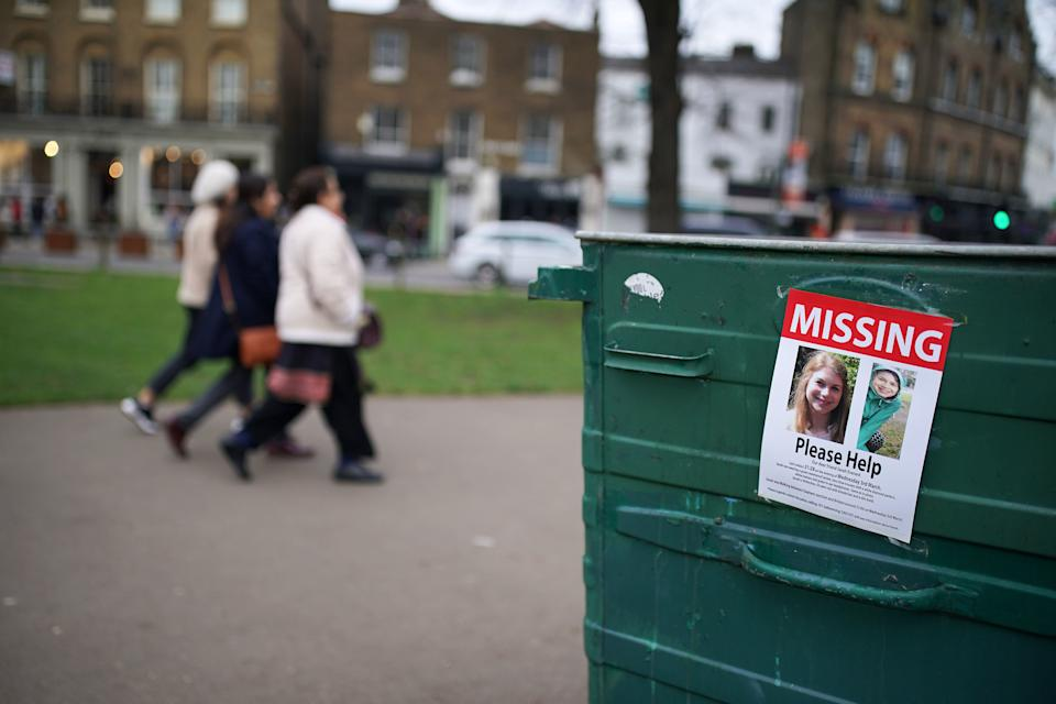 A poster appealing for information on Clapham Common in south London after Sarah Everard, 33, disappeared after leaving a friend's house in Clapham, south London, on Wednesday evening at around 9pm and began walking home to Brixton, said Scotland Yard.