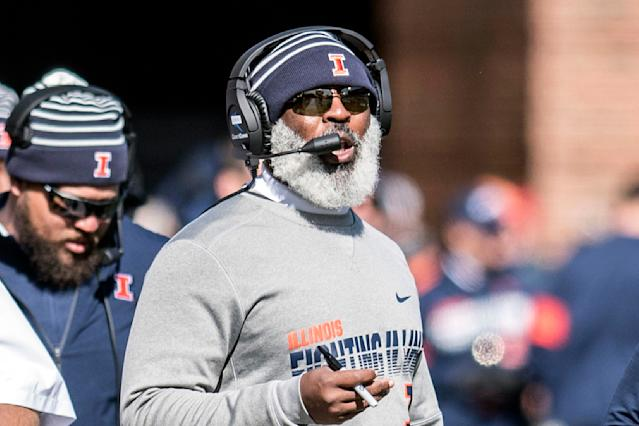 Illinois coach Lovie Smith during the first half of an NCAA college football game against Michigan, Saturday, Oct. 12, 2019, in Champaign, Ill. (AP Photo/Holly Hart)