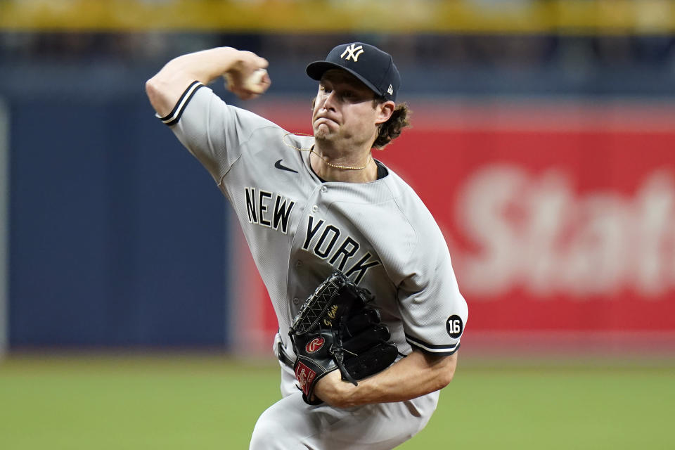 New York Yankees starting pitcher Gerrit Cole delivers to the Tampa Bay Rays during the fifth inning of a baseball game Thursday, July 29, 2021, in St. Petersburg, Fla. (AP Photo/Chris O'Meara)