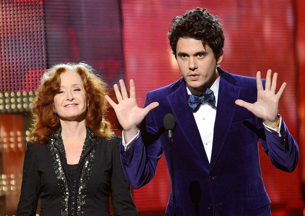 Bonnie Raitt and John Mayer onstage at the 55th Annual Grammy Awards at the Staples Center in Los Angeles, CA on February 10, 2013.