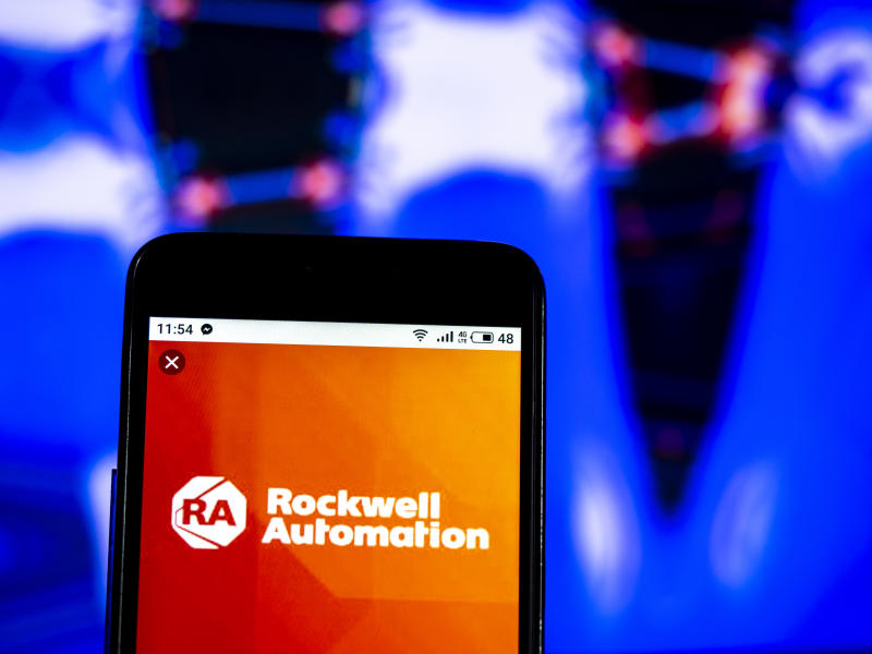 KIEV, UKRAINE - 2019/01/01: In this photo illustration, the Rockwell Automation Company logo seen displayed on a smartphone. (Photo Illustration by Igor Golovniov/SOPA Images/LightRocket via Getty Images)