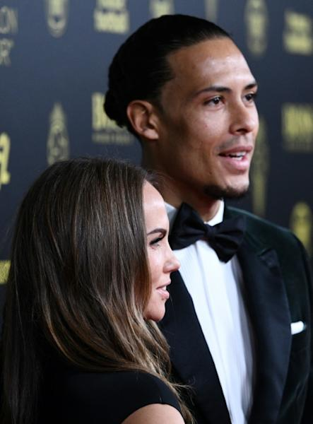 Liverpool's Dutch defender Virgil van Dijk and his wife Rike Nooitgedagt in Paris on Monday, where he claimed second place in the Ballon d'Or behind Lionel Messi