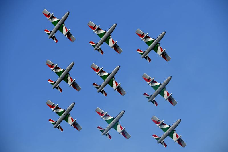PIANCAVALLO ITALY OCTOBER 18 Start Frecce Tricolori Air Patrol Aerial exhibition Base Aerea Rivolto Plane Team Presentation during the 103rd Giro dItalia 2020 Stage 15 a 185km stage from Base Aerea Rivolto Frecce Tricolori to Piancavallo 1290m girodiitalia Giro on October 18 2020 in Piancavallo Italy Photo by Stuart FranklinGetty Images