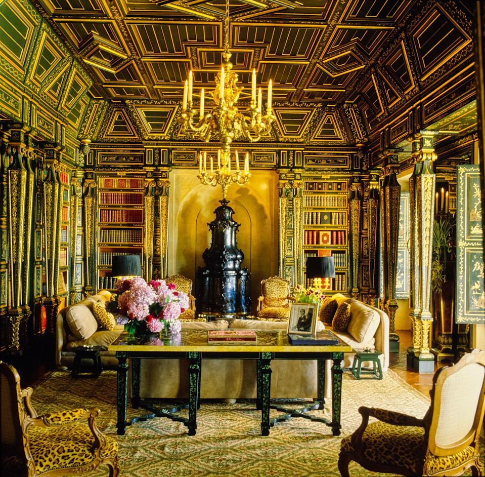 The Portuguese country home Quinta Patino, designed by Francois Catroux, includes a library with 17th century coffered-ceiling.