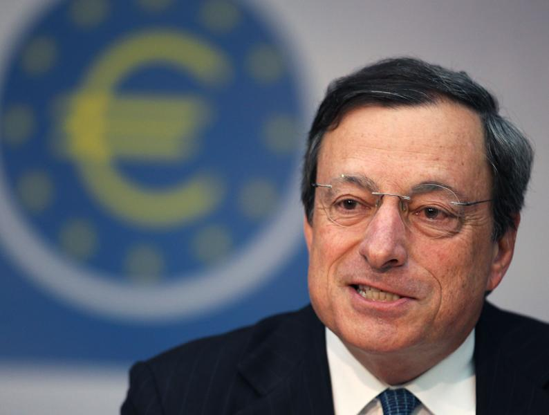 President of European Central Bank Mario Draghi addresses the media during a news conference in Frankfurt, Germany, Thursday, Aug. 2, 2012, following a meeting of the ECB governing council concerning the further strategies in the European financial crisis. (AP Photo/Michael Probst)