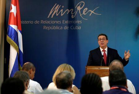 Cuba's Foreign Minister Bruno Rodriguez Parrilla speaks during a news conference in Havana, Cuba September 9, 2016. REUTERS/Enrique de la Osa