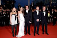 <p>Pitt poses with his co-stars and director Quentin Tarantino at the premiere of Once Upon a Time in Hollywood at the 72nd Annual Cannes Film Festival. His role as stunt man Cliff Booth earned him an Oscar for Best Supporting Actor.</p>
