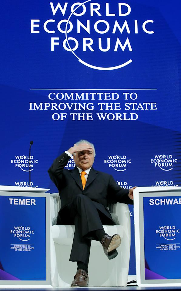 Brazil's President Michel Temer gestures during the World Economic Forum (WEF) annual meeting in Davos, Switzerland January 24, 2018.  REUTERS/Denis Balibouse