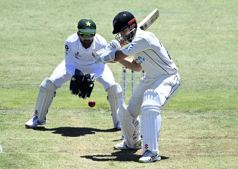 New Zealand's Kane Williamson bats during play on day one of the first cricket test between Pakistan and New Zealand at Bay Oval, Mount Maunganui, New Zealand, Saturday, Dec. 26, 2020. (Andrew Cornaga/Photosport via AP)