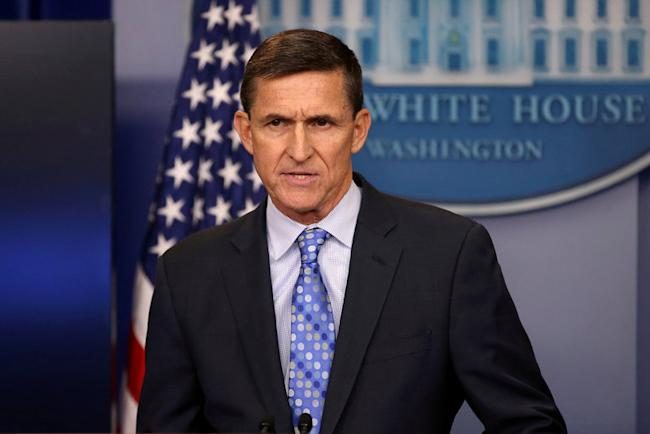 Then national security adviser General Michael Flynn delivers a statement daily briefing at the White House in Washington, U.S., February 1, 2017. REUTERS/Carlos Barria