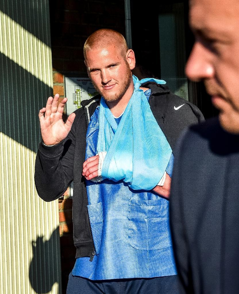 Off-duty Airman Spencer Stone of the US Air Force was one of the passengers who overpowered a gunman in an attack aboard a train from Amsterdam to Paris (AFP Photo/Philippe Huguen)