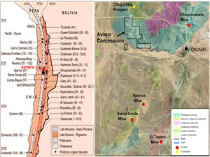 Location of the Avispa Exploration Concessions and major copper mines in northern Chile.