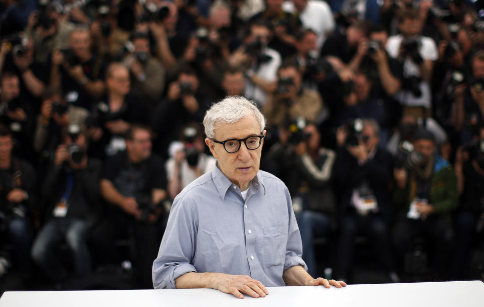 """Director Woody Allen poses during a photocall for the film """"Cafe Society"""" out of competition, before the opening of the 69th Cannes Film Festival in Cannes, France, May 11, 2016. REUTERS/Eric Gaillard"""