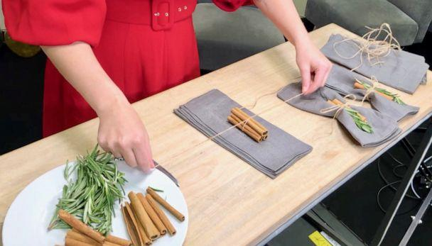PHOTO: Actress and author Sasha Pieterse shows how to make holiday place settings with rosemary and cinnamon in Los Angeles, Tuesday, Oct. 15, 2019. (ABC News)