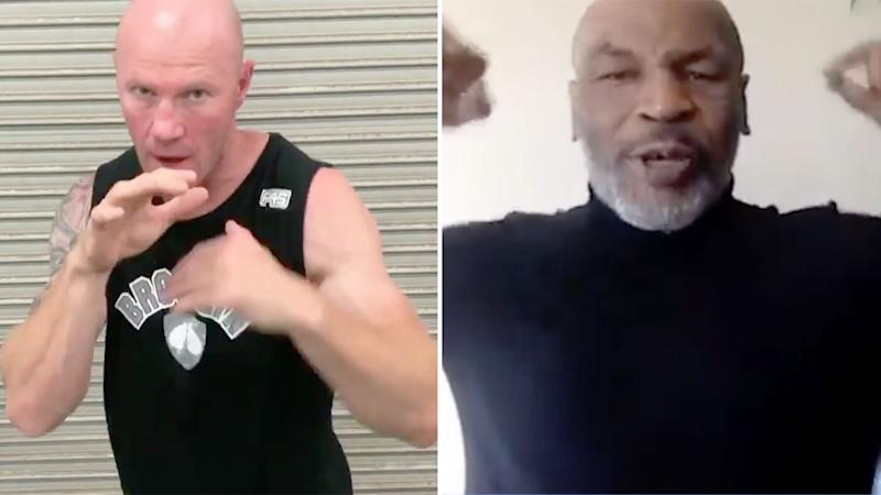 Seen here, AFL great Barry Hall and heavyweight boxing legend Mike Tyson.