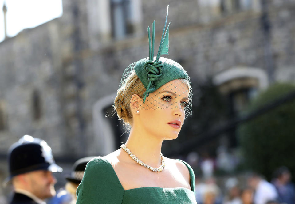 Lady Kitty Spencer arrives at St George's Chapel at Windsor Castle for the wedding of Meghan Markle and Prince Harry. (Photo: AP)